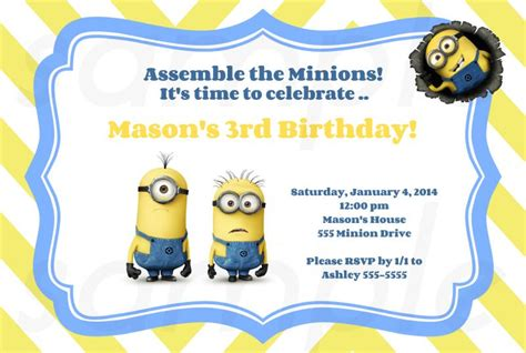 minion card template free printable minion birthday invitations ideas