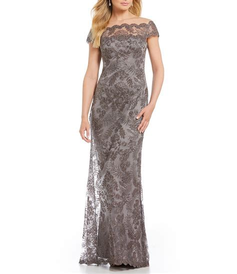 Tadashi Shoji Off The Shoulder Lace Gown   Dillards