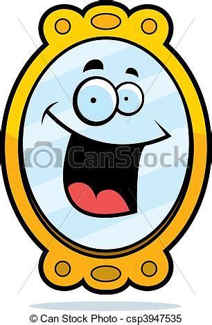 clipart vectorial de espejo sonriente un caricatura