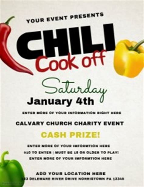 chili cook off poster templates postermywall