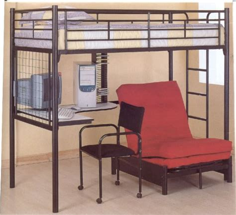 metal loft beds with desk underneath