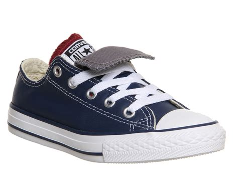 sepatu converse leather navy converse ctas tongue ox leather youth navy