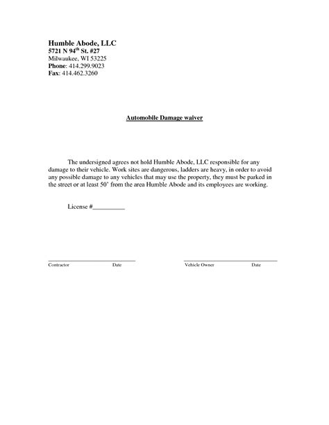 damage waiver template best photos of waiver of property template liability