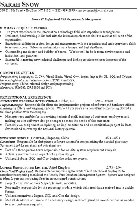 technical project manager resume format it consultant resume exle