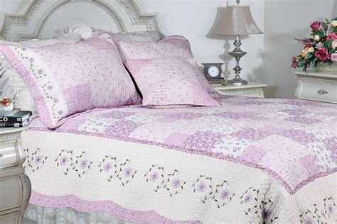 Lilac Quilt by Of Lilac 100 Cotton 3pc Floral Vermicelli Quilted