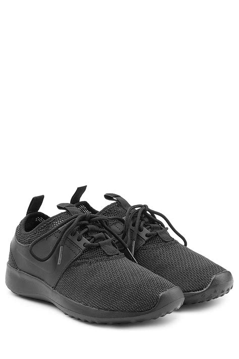 mesh nike sneakers nike leather and mesh sneakers black in black lyst