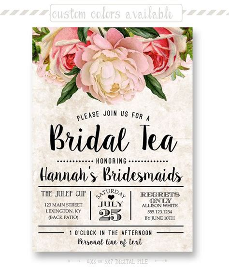 kitchen tea party invitation ideas tea stained floral bridal tea invitation by shoppixelstix