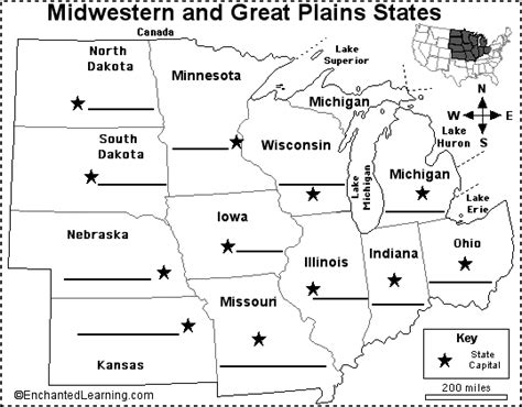 label midwestern us state capitals printout