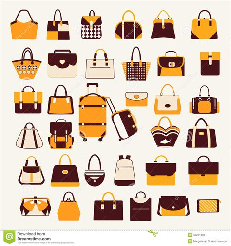 All Collection Illustration Slingbag set icons of bags and handbags illustration stock vector image 43261403