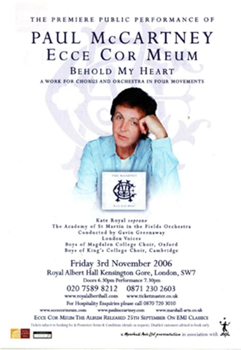Paul Mccartney World Premiere Performance Of Ecce Cor Meum At Royal Albert by Ecce Cor Meum World Premiere 3rd November 2006 Uk