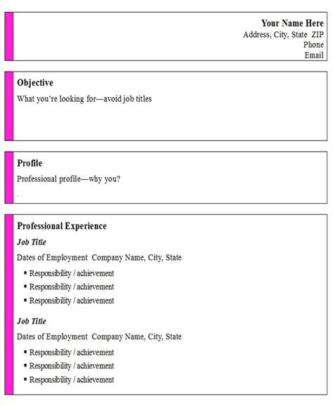 informal resume format informal professional resume template open resume templates