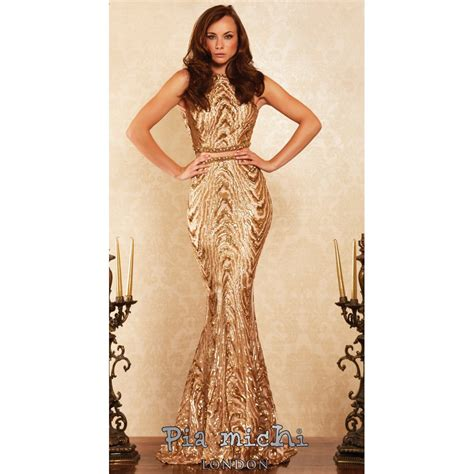 Dress Michi pia michi 1727 gold sequinned 2 floor length gown