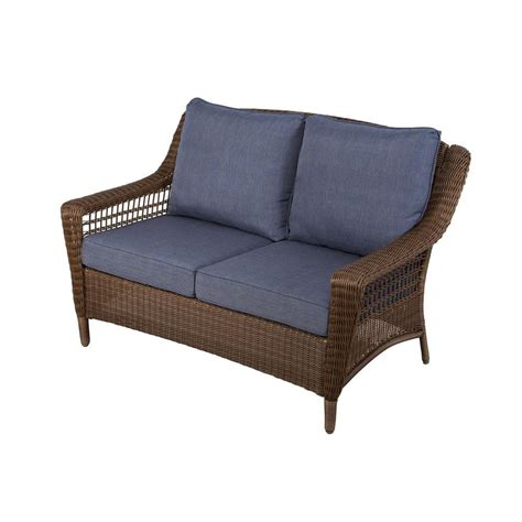 loveseat outdoor furniture hton bay brown all weather wicker patio loveseat with sky blue cushions 66 20303