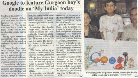 today s doodle india to feature gurgaon boys doodle on my india
