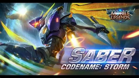 wallpaper hd saber codename storm mobile legends new skin saber code name storm youtube