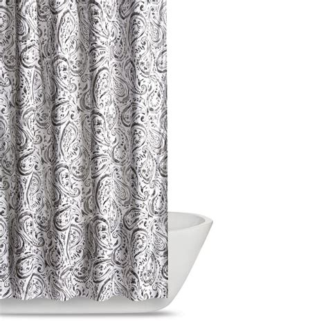 gray paisley shower curtain truly soft watercolor paisley 72 in grey shower curtain