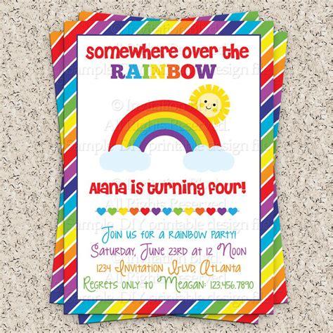 rainbow invitation card template rainbow 1st birthday invitations