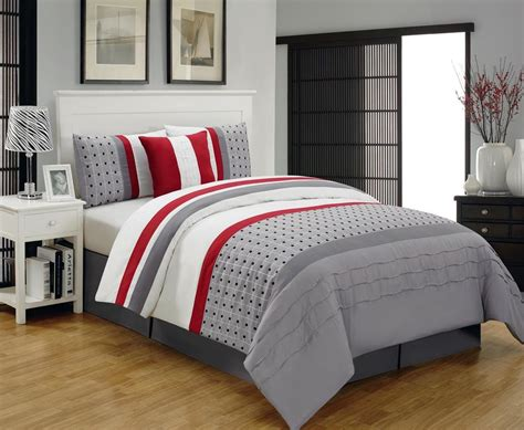 gray and red bedding contemporary bedroom with geometric polka dot striped grey