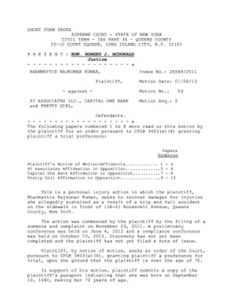 New York Supreme Court Civil Search Fillable Decisions Courts State Ny Form Order Supreme Court State Of
