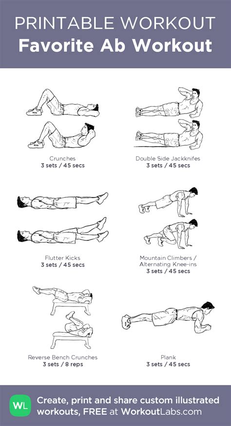 favorite ab workout illustrated exercise plan created at workoutlabs click for a