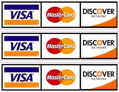 Visa Mastercard Discover Stickers new credit card logo sticker decals x3 visa mastercard