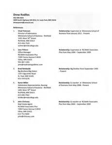 Reference Sle Resume by A List Of References For A Resume