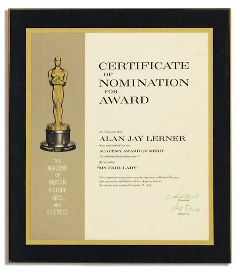 film oscar award lot detail academy award nomination certificate for my