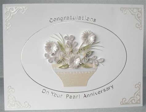 Handmade Pearl Anniversary Cards - items similar to 30th pearl wedding anniversary card