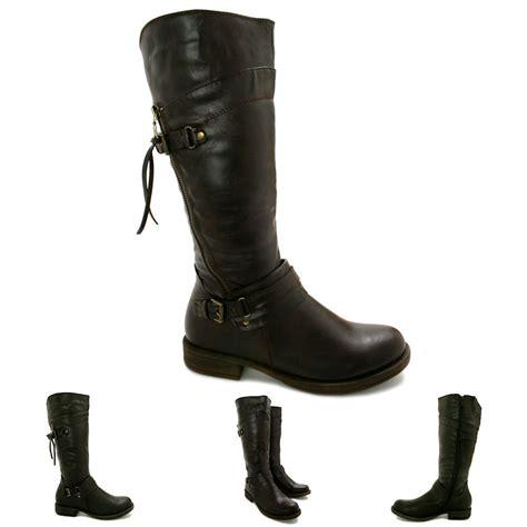 womens flat biker boots womens flat buckle zip knee high biker boots size ebay