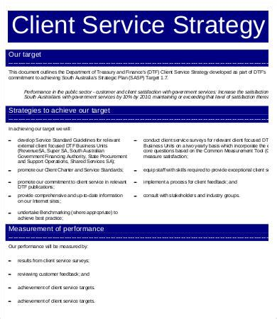 service strategy template 6 free word pdf documents