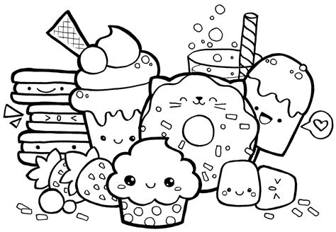 printable coloring pages kawaii kawaii food doodle coloring page