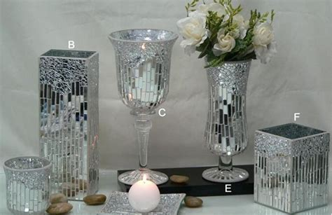 Mirror Vases Centerpieces by Silver Mirror Glass Mosaic Vase Crakle Candle Holder For Wedding Centerpieces Buy Silver