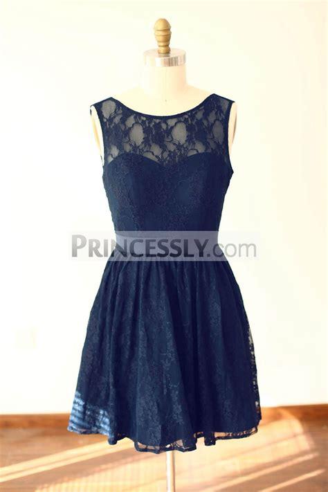 Navy Blue Bridesmaid Dress by Navy Blue Lace V Back Knee Length Bridesmaid Dress