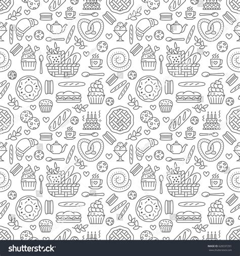 seamless pattern food bakery seamless pattern food vector background stock