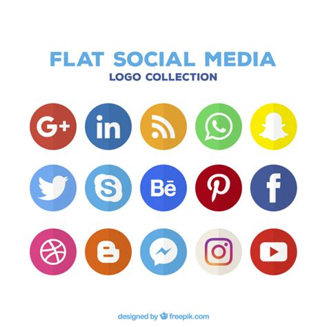 social media colors variety of social media colored icons vector free