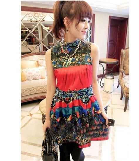 Baju Dress Batik Cantik Unik dress import lengan buntung cantik model terbaru jual