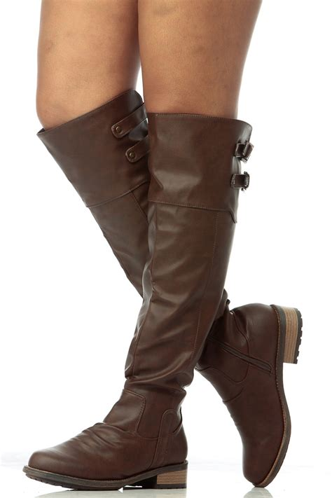 brown slouch faux leather knee high boots