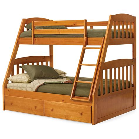 twin full bunk beds logan honey mission twin over full bunk bed at hayneedle
