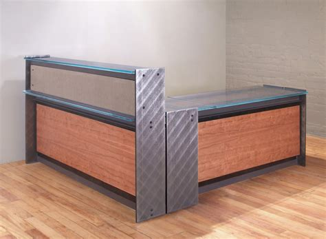 Metal Reception Desk Steel And Glass Reception Desk Custom Reception Desks Stoneline Designs
