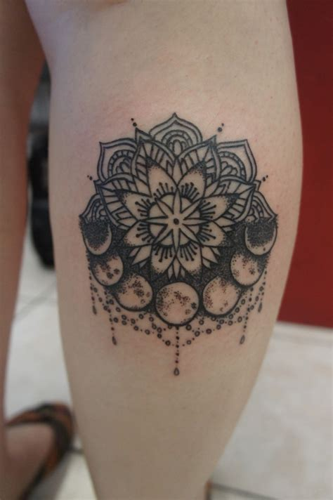 mandala moon tattoo wonderful black ink mandala flower with moon on