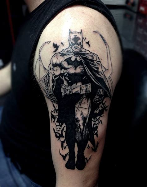 batman tattoo sleeve black and grey batman by roque mendez