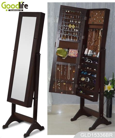 ebay sale wooden standing mirrored jewelry cabinet for