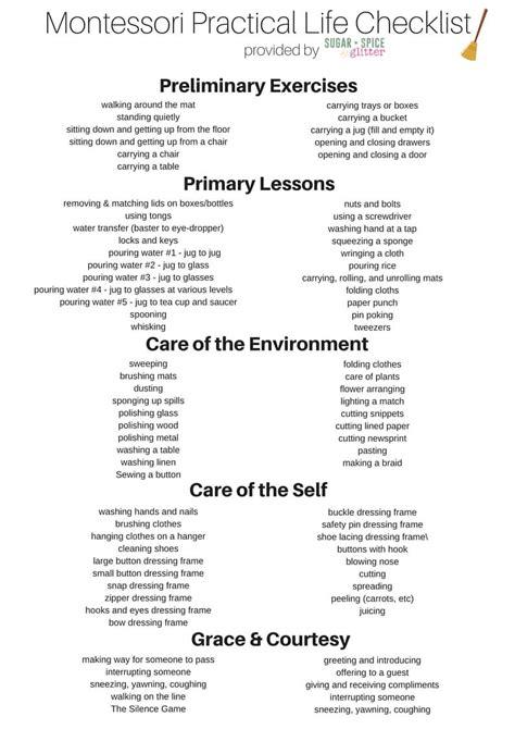 biography checklist for students montessori pracitcal life checklist printable sugar