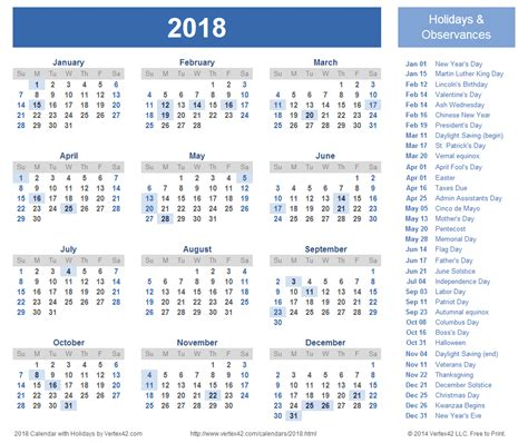 Calendar 2018 With Holidays Usa Printable 2018 Calendar With Holidays Calendar Printable Free