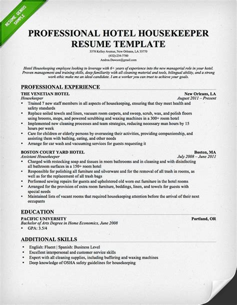 Exle Resume Of Housekeeping In Hotel Housekeeping Cleaning Resume Sle Resume Genius