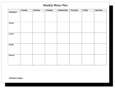 weekly menu template word free menu planner template clipart best
