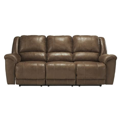 faux leather recliner sofa ashley niarobi faux leather reclining sofa in saddle 4060188