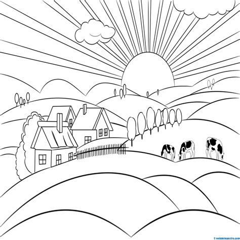 imagenes para dibujar un paisaje dibujos de paisaje natural y cultural para colorear