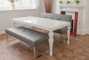 white gloss dining room table and genoa benches by danetti