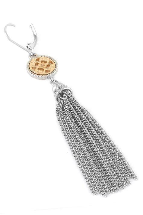 Circle Tassel Earrings textured metal circle tassel earrings
